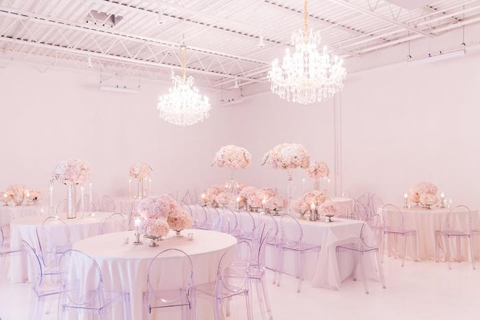 Guest tables from a Romantic White Wedding on Kara's Party Ideas   KarasPartyIdeas.com (14)