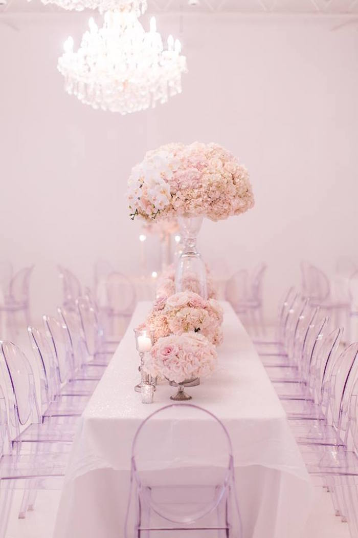 Head table from a Romantic White Wedding on Kara's Party Ideas | KarasPartyIdeas.com (10)