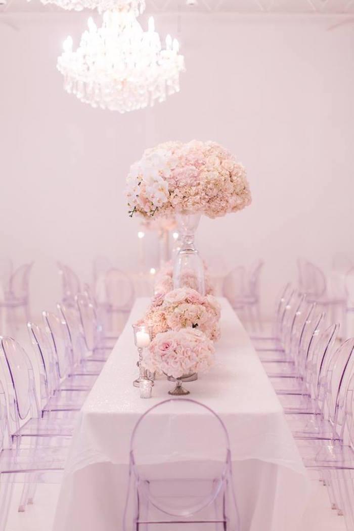 Head table from a Romantic White Wedding on Kara's Party Ideas   KarasPartyIdeas.com (10)