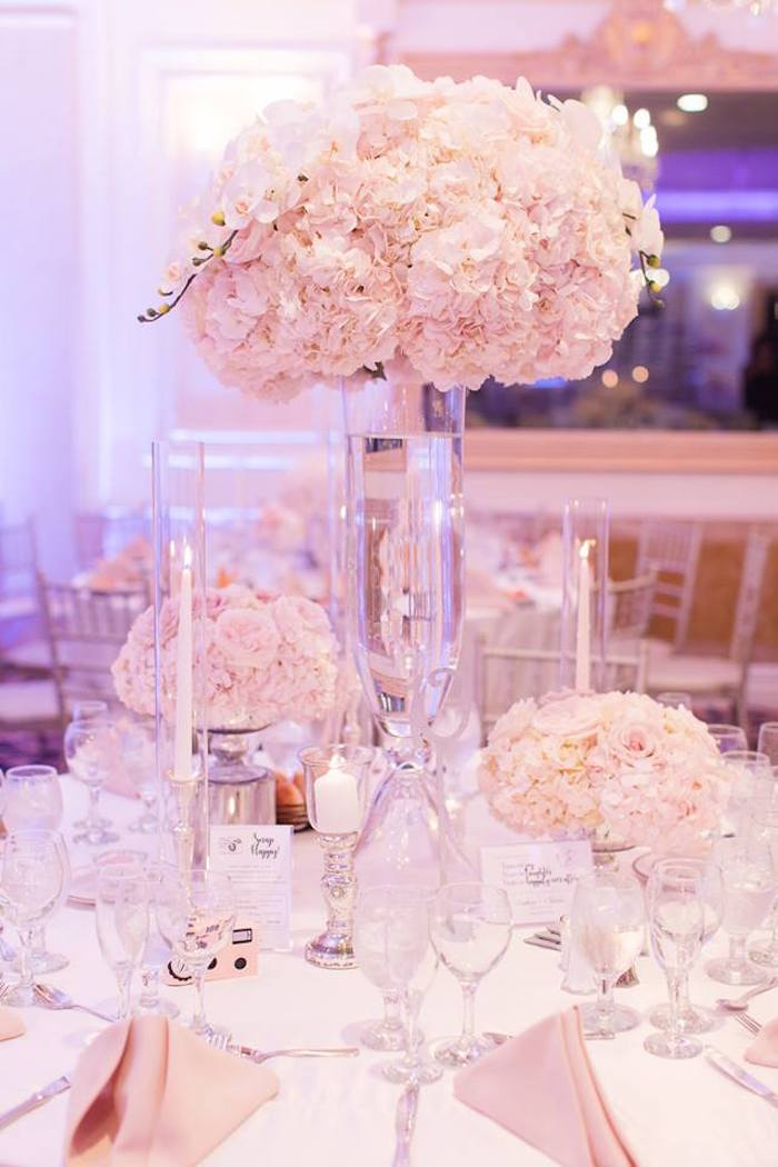 Guest table centerpiece from a Guest table from a Romantic White Wedding on Kara's Party Ideas   KarasPartyIdeas.com (28)