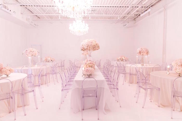 Guest tables + partyscape from a Romantic White Wedding on Kara's Party Ideas   KarasPartyIdeas.com (6)