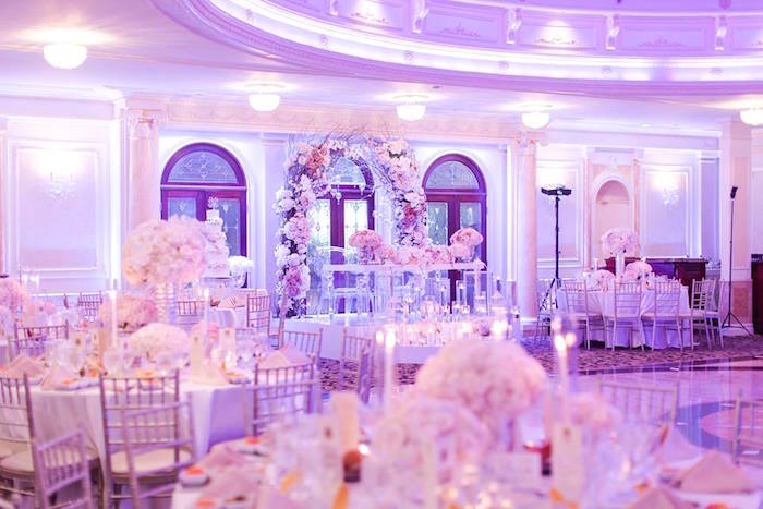 Partyscape from a Romantic White Wedding on Kara's Party Ideas | KarasPartyIdeas.com (5)