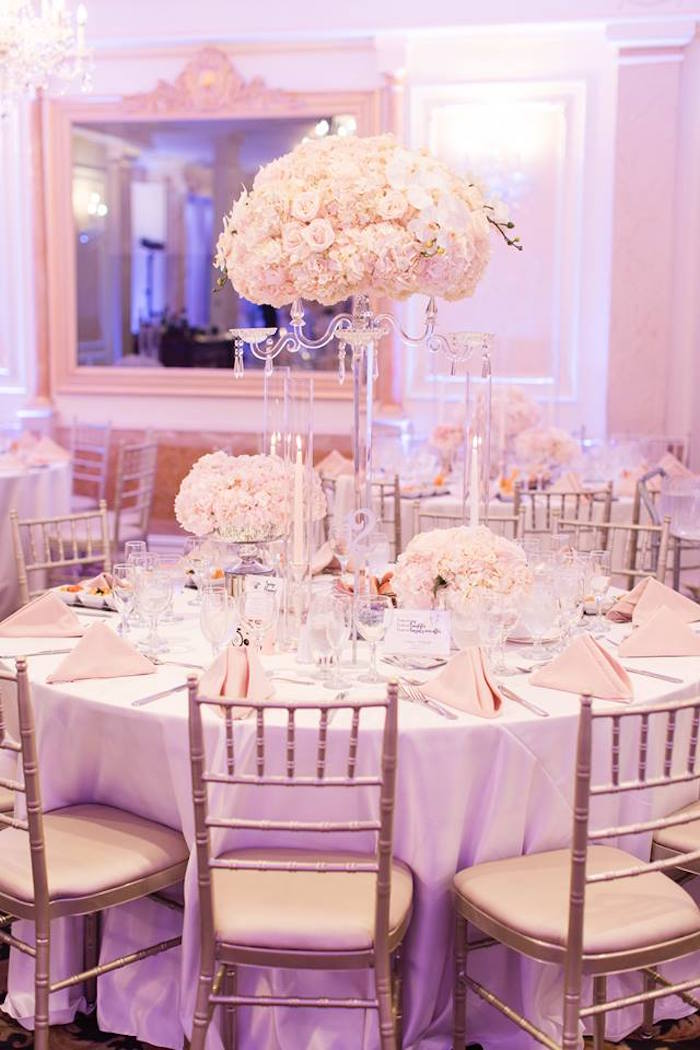 Guest table from a Romantic White Wedding on Kara's Party Ideas | KarasPartyIdeas.com (26)