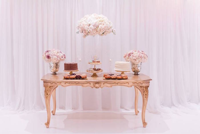 Sweet table from a Romantic White Wedding on Kara's Party Ideas | KarasPartyIdeas.com (21)