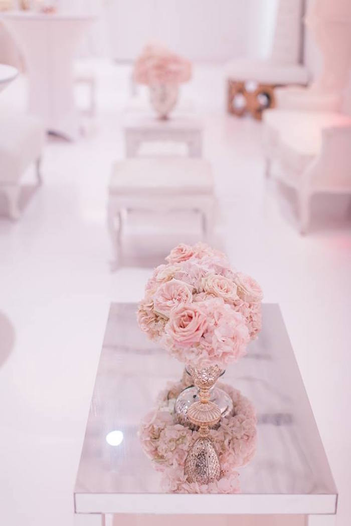 Mirror table & blooms from a Romantic White Wedding on Kara's Party Ideas   KarasPartyIdeas.com (20)