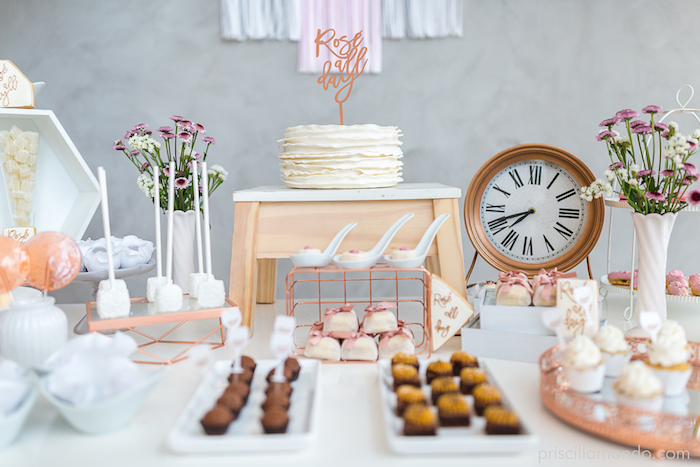 Dessert table from a Rosé All Day Glamorous Birthday Party on Kara's Party Ideas | KarasPartyIdeas.com (6)