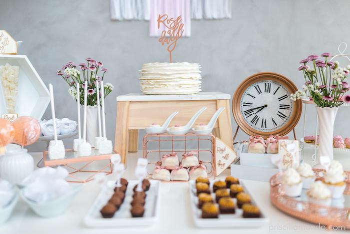 Dessert table from a Rosé All Day Glamorous Birthday Party on Kara's Party Ideas | KarasPartyIdeas.com (6)