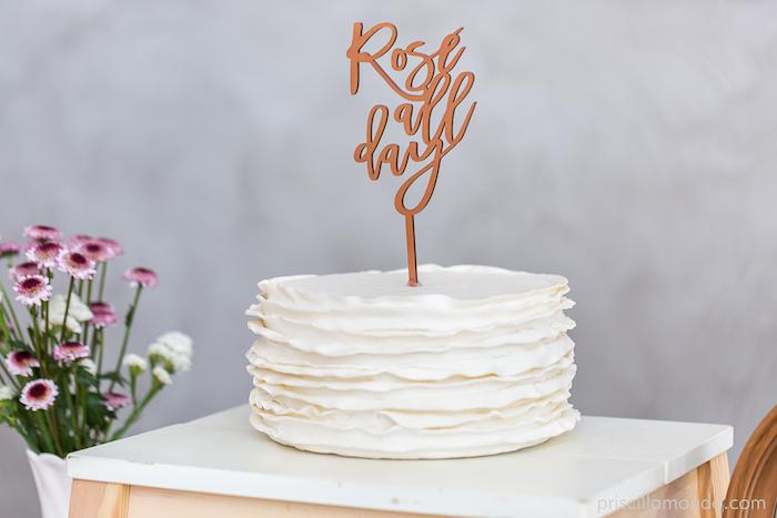 White ruffle cake from a Rosé All Day Glamorous Birthday Party on Kara's Party Ideas | KarasPartyIdeas.com (5)