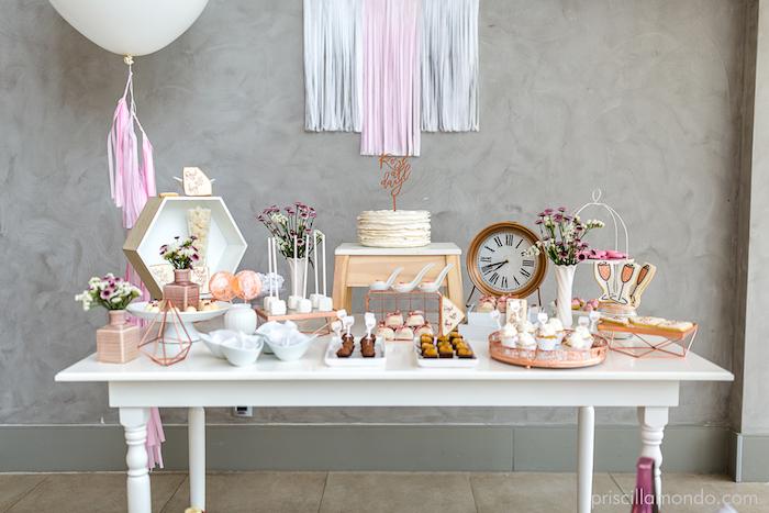 Dessert table from a Rosé All Day Glamorous Birthday Party on Kara's Party Ideas | KarasPartyIdeas.com (17)