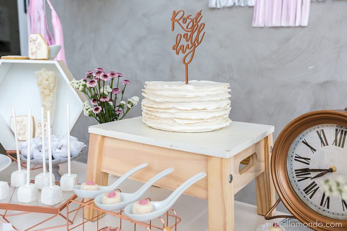 Stool cake pedestal + ruffle cake from a Rosé All Day Glamorous Birthday Party on Kara's Party Ideas | KarasPartyIdeas.com (12)