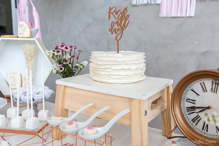 Stool cake pedestal + ruffle cake from a Rosé All Day Glamorous Birthday Party on Kara's Party Ideas | KarasPartyIdeas.com (12)