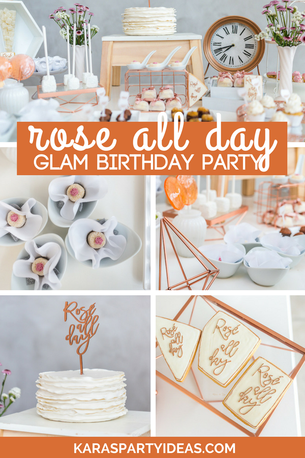 Rose All Day Glamorous Birthday Party via Kara's Party Ideas - KarasPartyIdeas.com