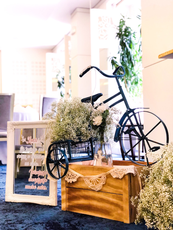 Vintage trike from a Rustic Vintage Baptism Party on Kara's Party Ideas | KarasPartyIdeas.com (5)
