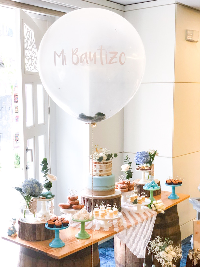Dessert table from a Rustic Vintage Baptism Party on Kara's Party Ideas | KarasPartyIdeas.com (13)