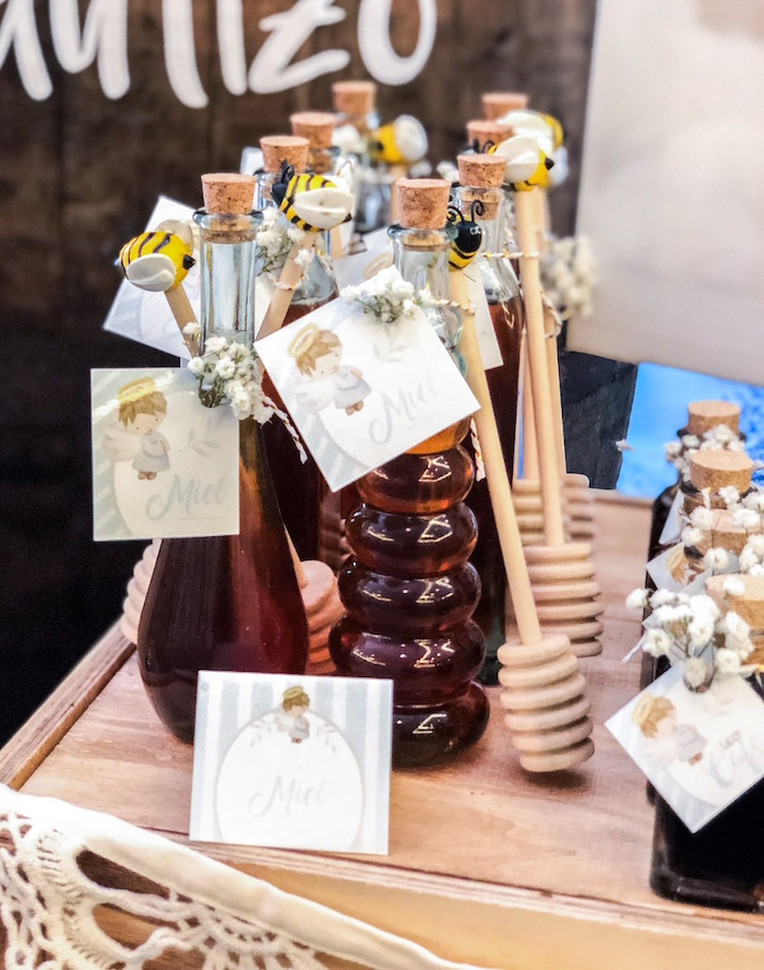 Honey jar favors from a Rustic Vintage Baptism Party on Kara's Party Ideas | KarasPartyIdeas.com (11)