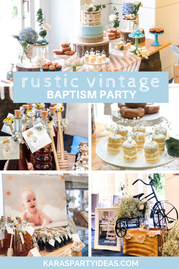Rustic Vintage Baptism Party via Kara's Party Ideas - KarasPartyIdeas.com