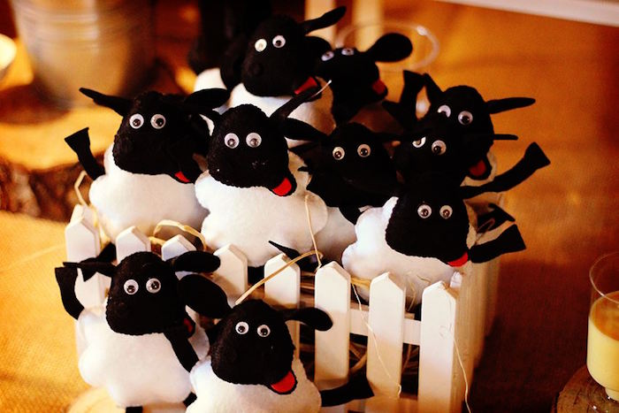 Felt sheep from a Sheep On The Loose Western Farm Birthday Party on Kara's Party Ideas | KarasPartyIdeas.com (10)