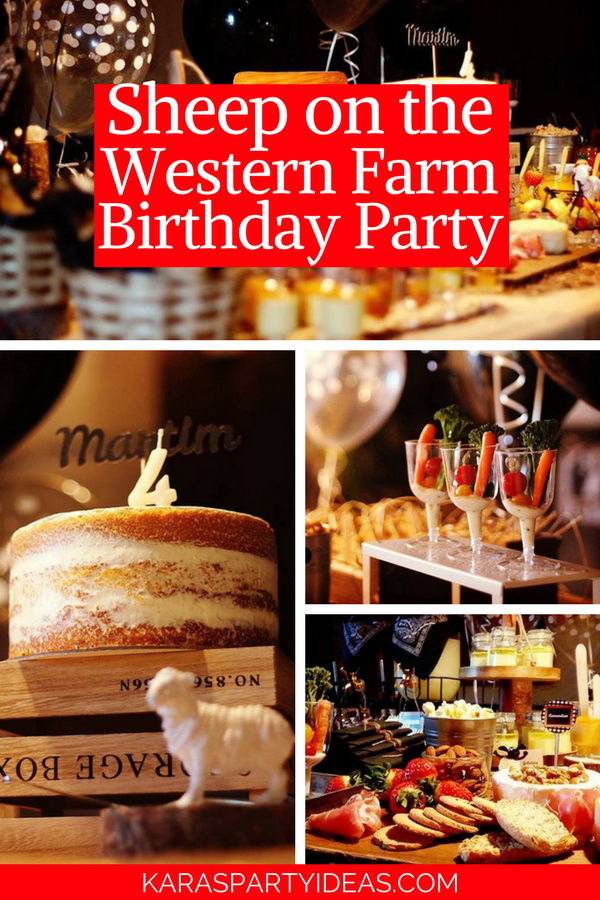 Sheep on the Loose Western Farm Birthday Party via Kara's Party Ideas - KarasPartyIdeas.com