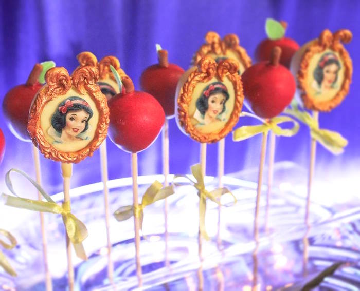 Enchanted Mirror & Poison Apple Cake/Cookie Pops from a Snow White Enchanted Forest Birthday Party on Kara's Party Ideas | KarasPartyIdeas.com (15)