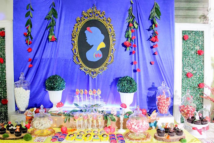 Dessert table from a Snow White Enchanted Forest Birthday Party on Kara's Party Ideas | KarasPartyIdeas.com (12)