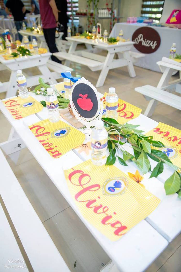 Snow White kid table from a Snow White Enchanted Forest Birthday Party on Kara's Party Ideas | KarasPartyIdeas.com (11)