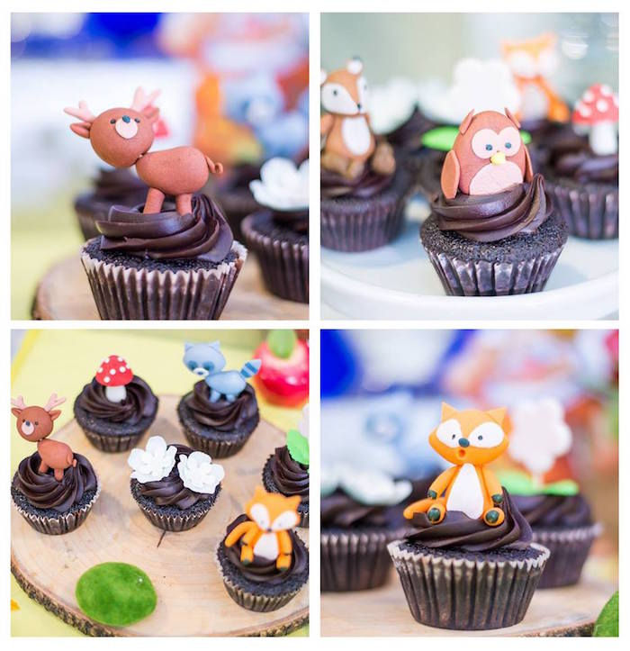 Woodland animal cupcakes from a Snow White Enchanted Forest Birthday Party on Kara's Party Ideas | KarasPartyIdeas.com (6)