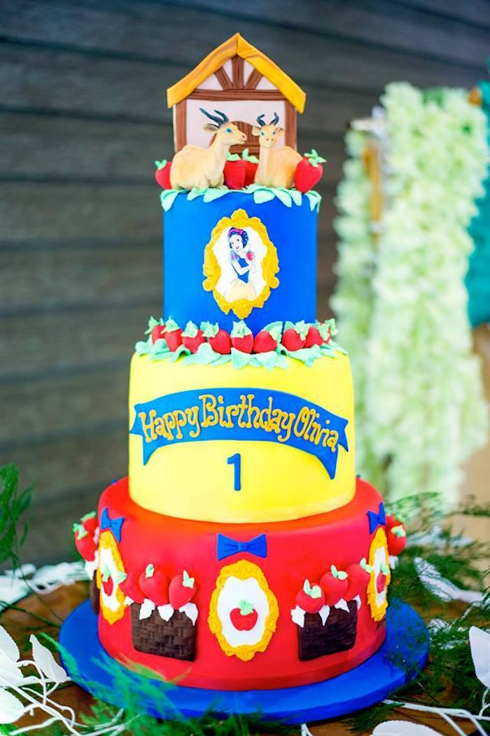 Snow White Cake from a Snow White Enchanted Forest Birthday Party on Kara's Party Ideas | KarasPartyIdeas.com (5)