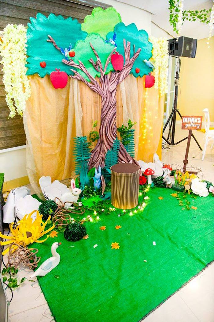 Faux apple tree from a Snow White Enchanted Forest Birthday Party on Kara's Party Ideas | KarasPartyIdeas.com (26)