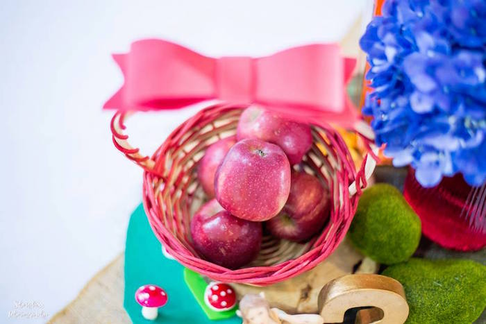 Apple basket from a Snow White Enchanted Forest Birthday Party on Kara's Party Ideas | KarasPartyIdeas.com (25)