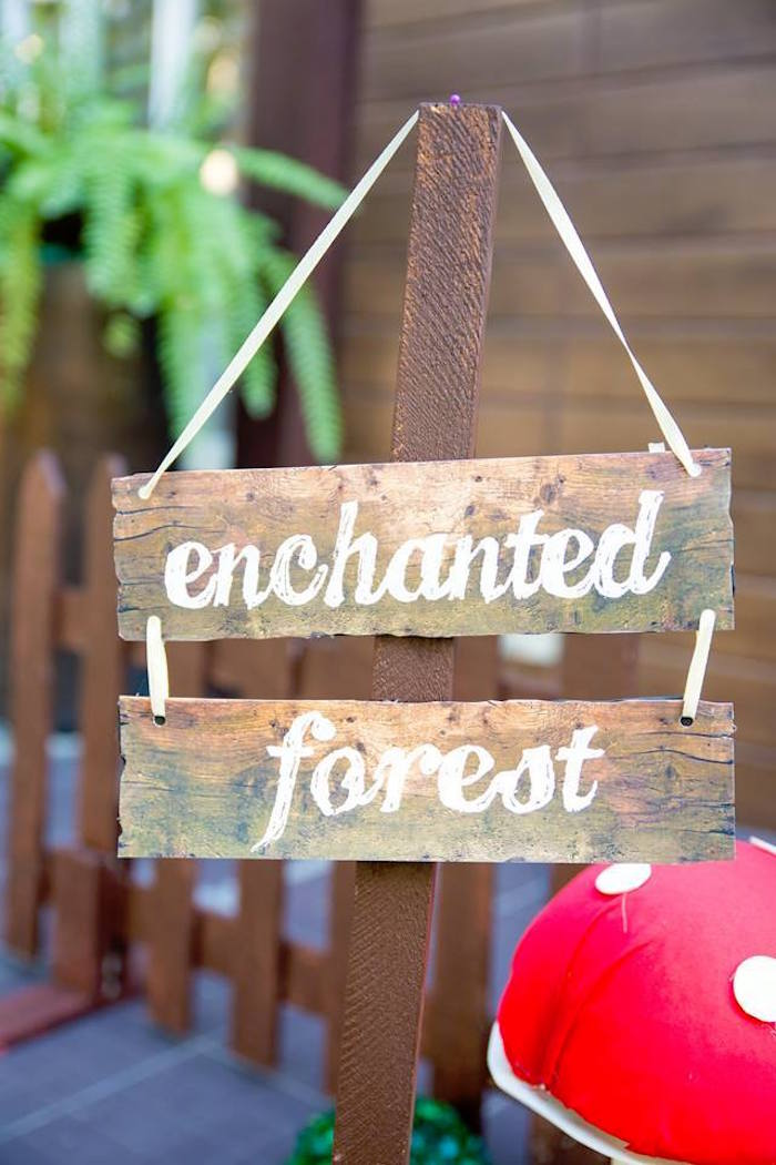 Wooden Enchanted Forest Sign from a Snow White Enchanted Forest Birthday Party on Kara's Party Ideas | KarasPartyIdeas.com (23)