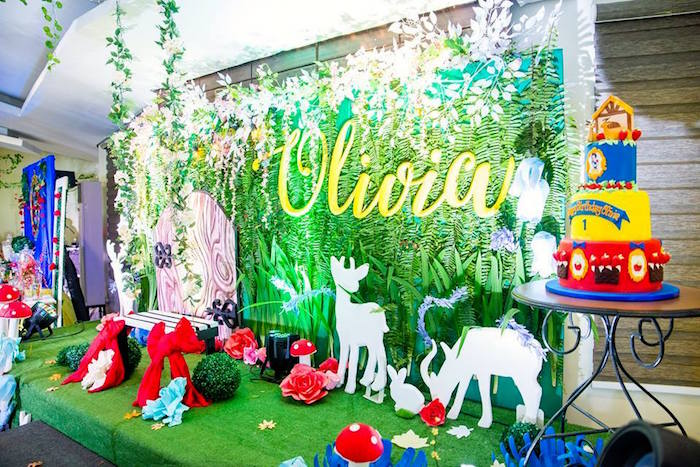 Woodland forest backdrop from a Snow White Enchanted Forest Birthday Party on Kara's Party Ideas | KarasPartyIdeas.com (20)