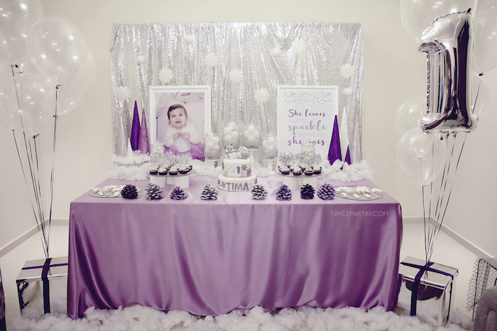 sparkly winter first birthday party on karas party ideas karaspartyideascom 18