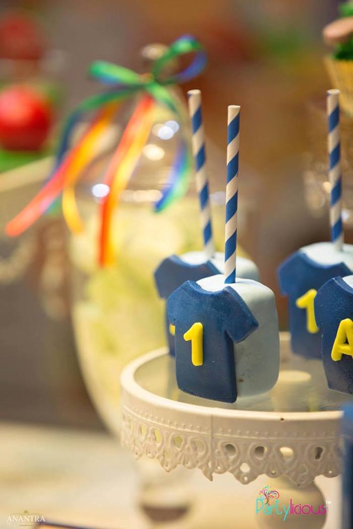 Jersey cake pops from a Sporty Cricket Themed Birthday Party on Kara's Party Ideas | KarasPartyIdeas.com (14)