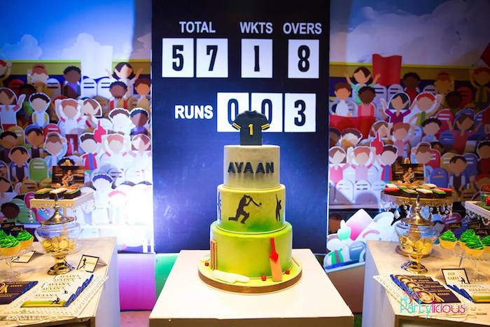 Cricket Themed Cake from a Sporty Cricket Themed Birthday Party on Kara's Party Ideas | KarasPartyIdeas.com (11)