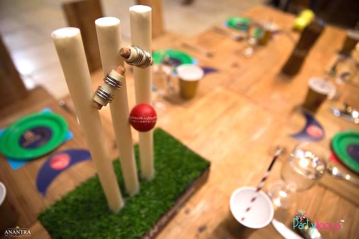 Cricket table centerpiece from a Sporty Cricket Themed Birthday Party on Kara's Party Ideas | KarasPartyIdeas.com (9)