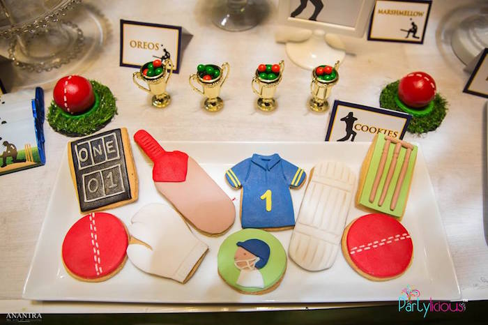 Cricket Themed Cookies from a Sporty Cricket Themed Birthday Party on Kara's Party Ideas | KarasPartyIdeas.com (7)