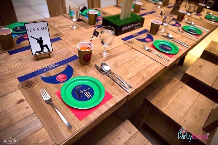 Guest tablescape from a Sporty Cricket Themed Birthday Party on Kara's Party Ideas | KarasPartyIdeas.com (6)