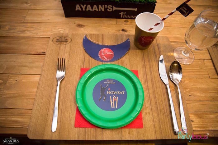 Cricket Themed Table Setting from a Sporty Cricket Themed Birthday Party on Kara's Party Ideas | KarasPartyIdeas.com (31)