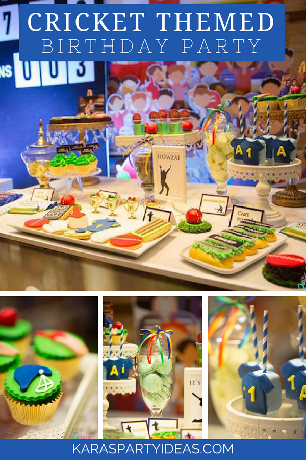Sporty Cricket Themed Birthday Party via Kara's Party Ideas - KarasPartyIdeas.com