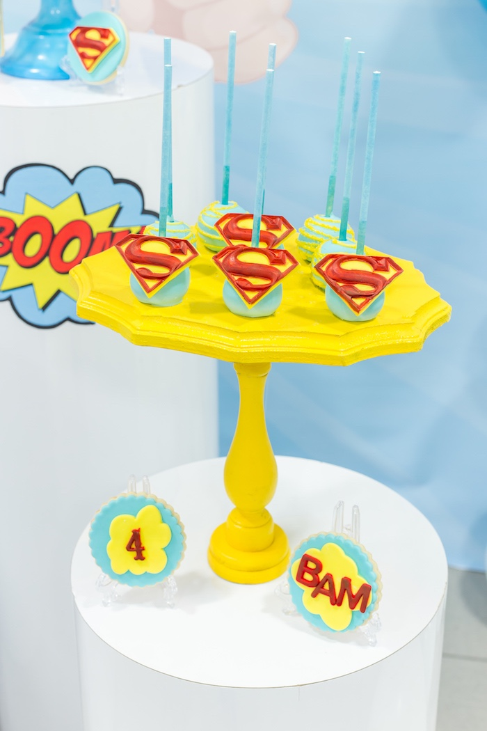 Superman cake pops from a Superman Birthday Party on Kara's Party Ideas | KarasPartyIdeas.com (24)