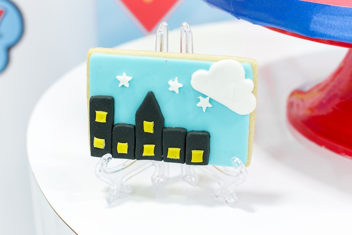 Cityscape Sugar Cookie from a Superman Birthday Party on Kara's Party Ideas | KarasPartyIdeas.com (22)
