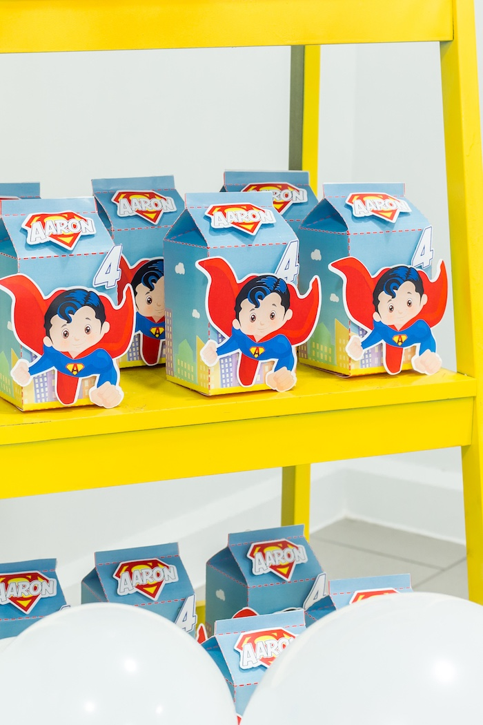 Superman favor boxes from a Superman Birthday Party on Kara's Party Ideas | KarasPartyIdeas.com (19)