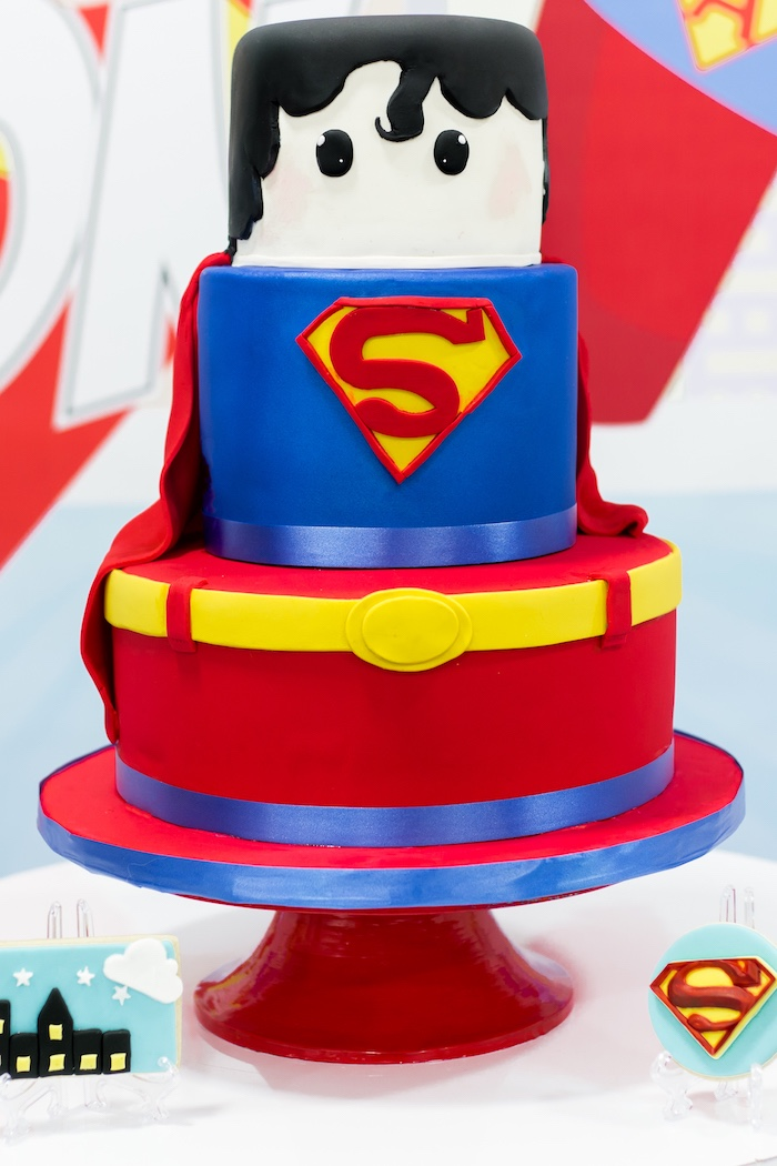 Superman Cake from a Superman Birthday Party on Kara's Party Ideas | KarasPartyIdeas.com (17)