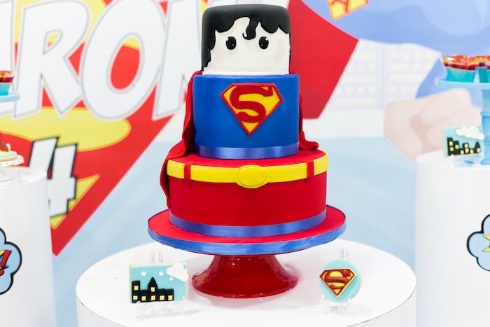 Superman Cake from a Superman Birthday Party on Kara's Party Ideas | KarasPartyIdeas.com (16)