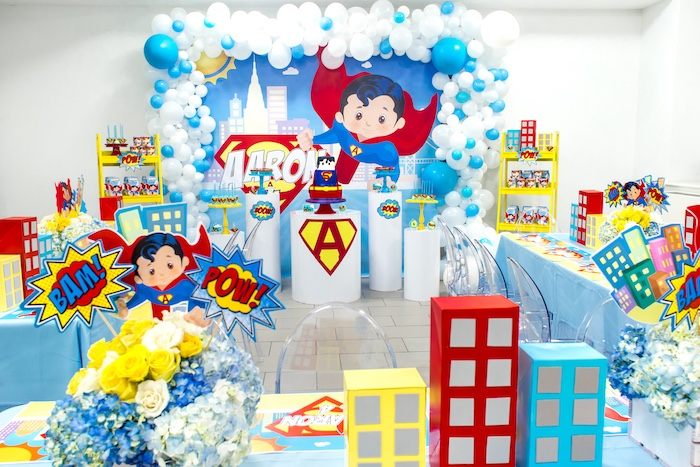 Superman party spread from a Superman Birthday Party on Kara's Party Ideas | KarasPartyIdeas.com (14)