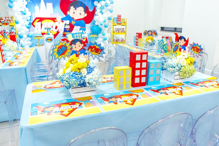 Guest table from a Superman Birthday Party on Kara's Party Ideas | KarasPartyIdeas.com (12)