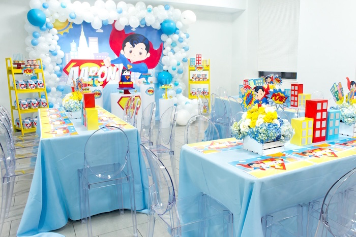 Guest tables + partyscape from a Superman Birthday Party on Kara's Party Ideas | KarasPartyIdeas.com (11)