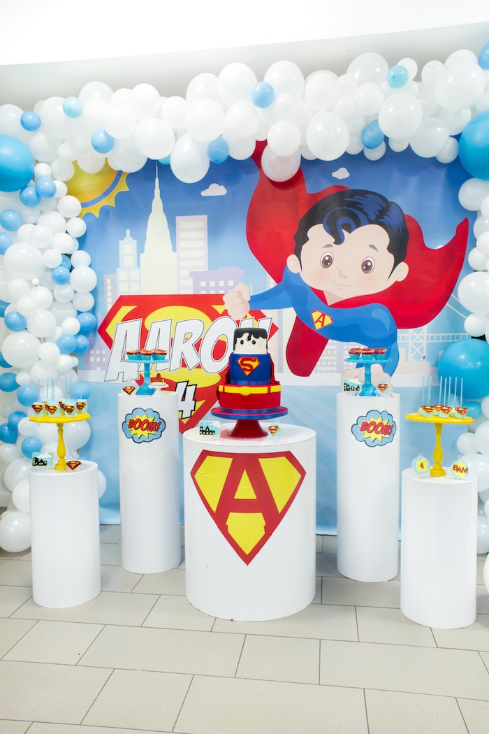 Pedestal Sweet Spread from a Superman Birthday Party on Kara's Party Ideas | KarasPartyIdeas.com (8)