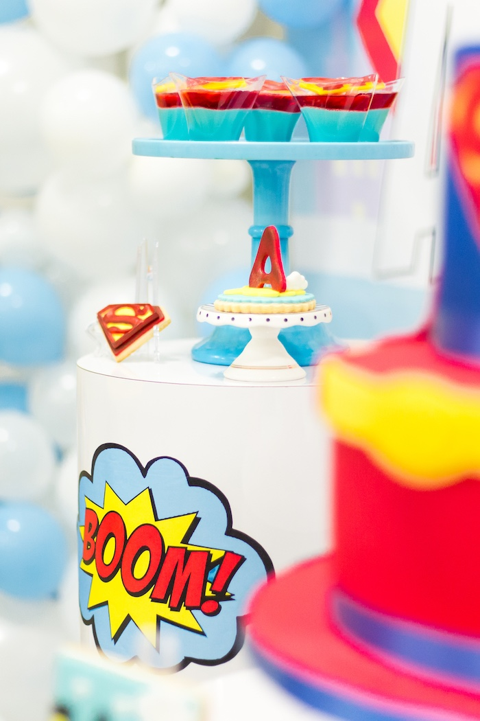 """Boom"" dessert pedestal from a Superman Birthday Party on Kara's Party Ideas 