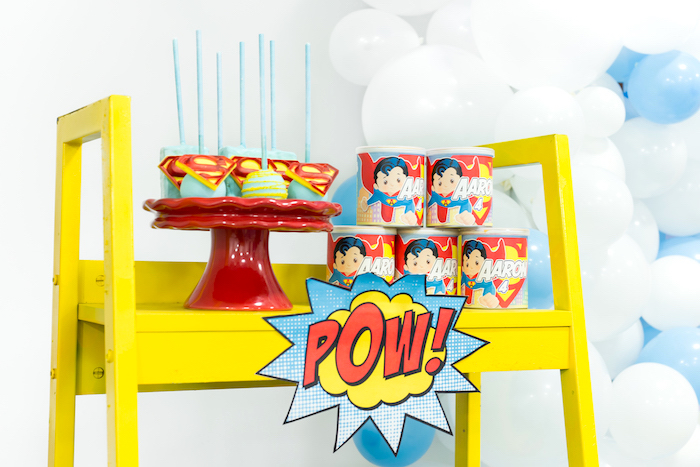 Superman favors + sweets from a Superman Birthday Party on Kara's Party Ideas | KarasPartyIdeas.com (32)